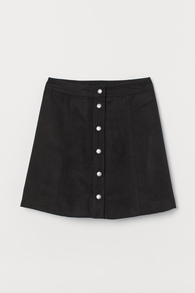 A-line Skirt - Black/faux suede - Ladies | H&M CA