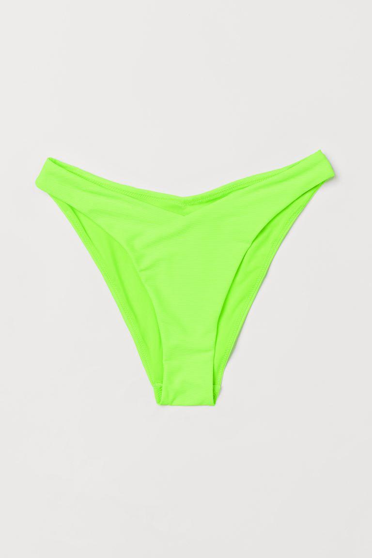 V-shaped bikini bottoms - Neon green/Ribbed - Ladies | H&M GB