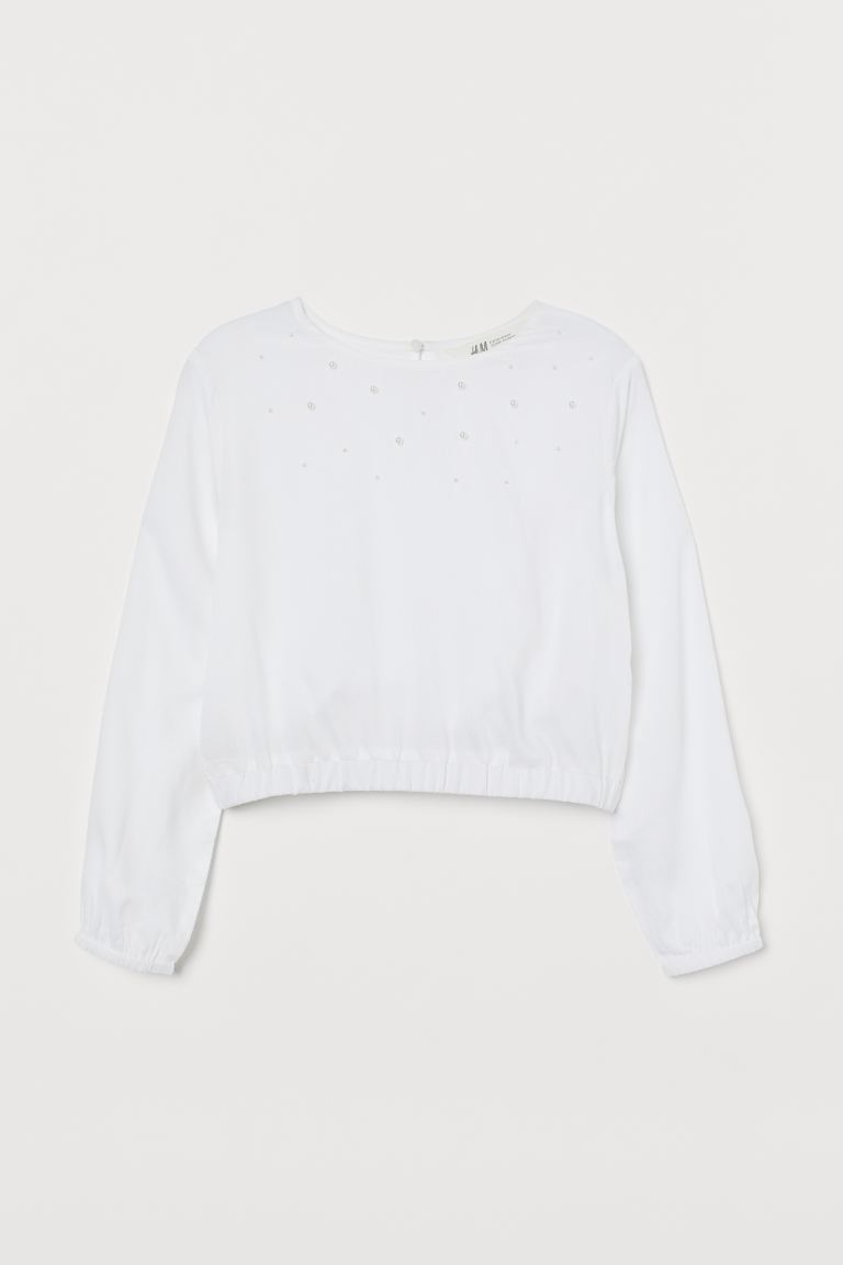 Long-sleeved blouse - Natural white -    H&M GB
