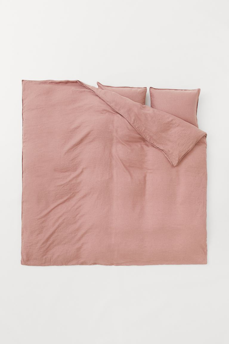 Washed linen duvet cover set - Old rose - Home All | H&M GB