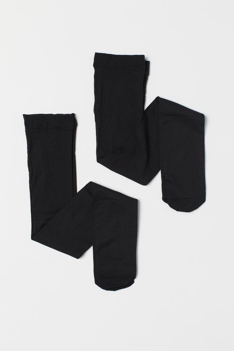 2-pack tights - Black/Black - Kids   H&M GB