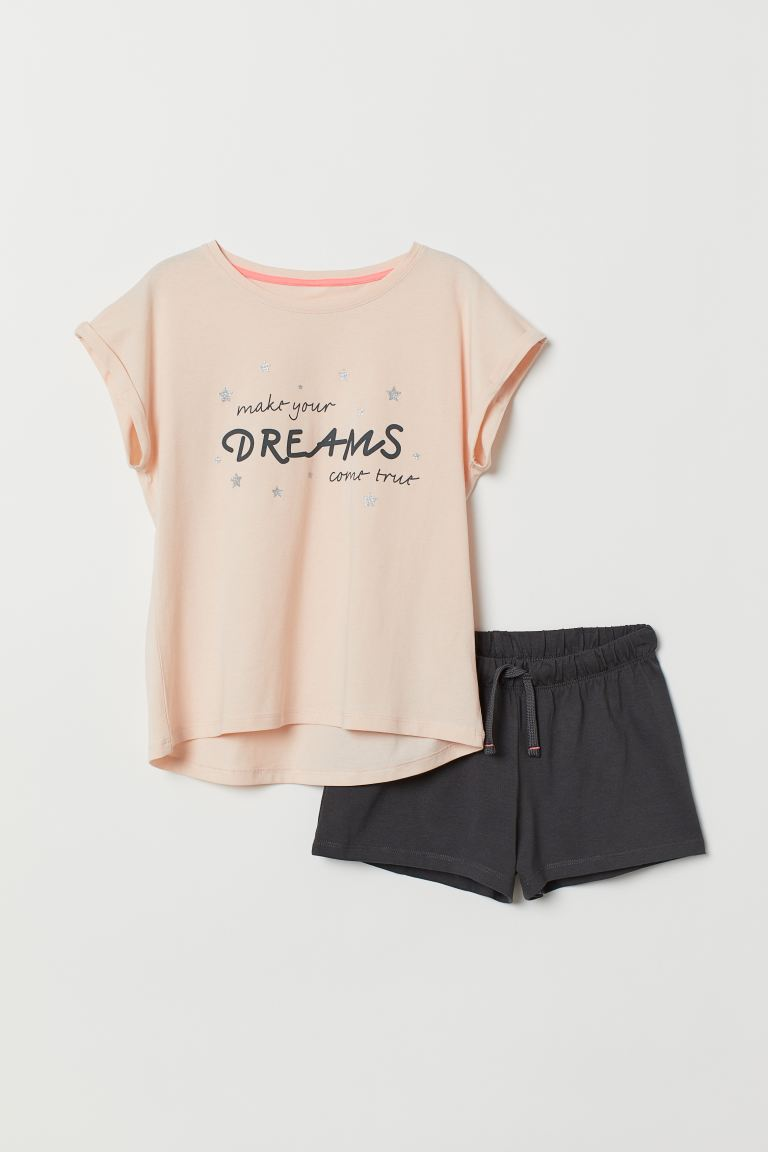 Jersey pyjamas - Apricot/Dark grey - Kids | H&M IN