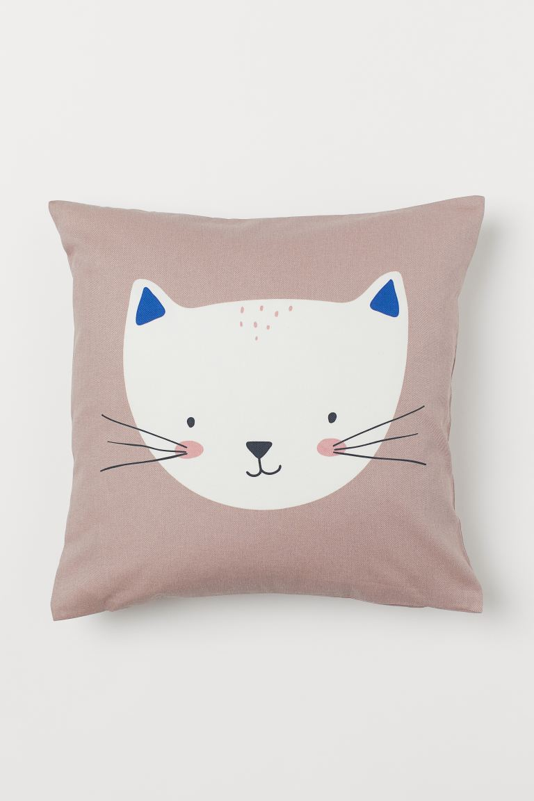 Cotton twill cushion cover - Light pink/Cat - Home All | H&M IE