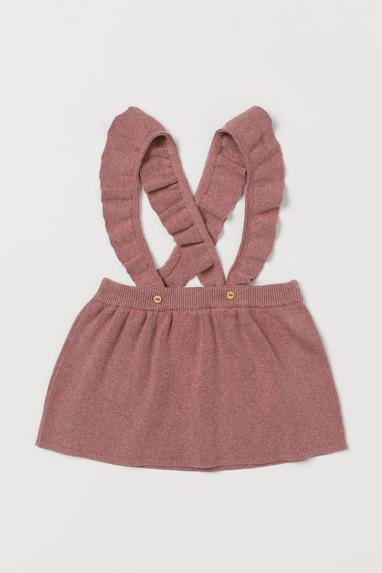 Fine-knit skirt with straps - Dark old rose -  | H&M