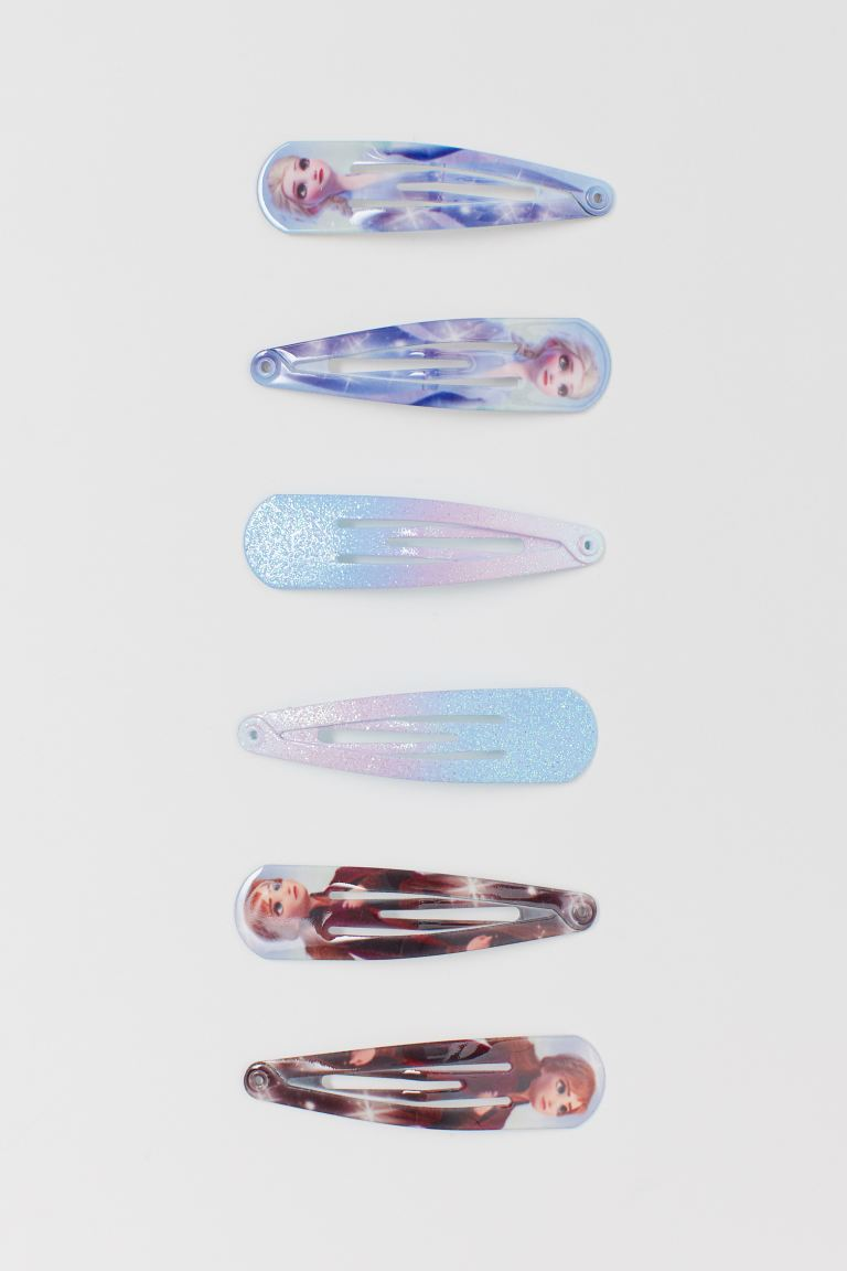 6-pack printed hair clips - Light blue/Frozen - Kids | H&M GB