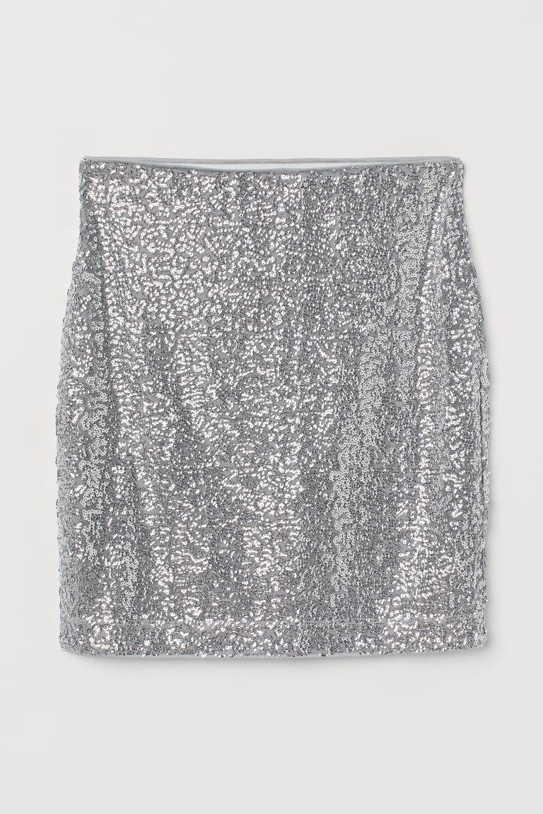 Shimmery Skirt - Silver-colored/sequins - Ladies | H&M US