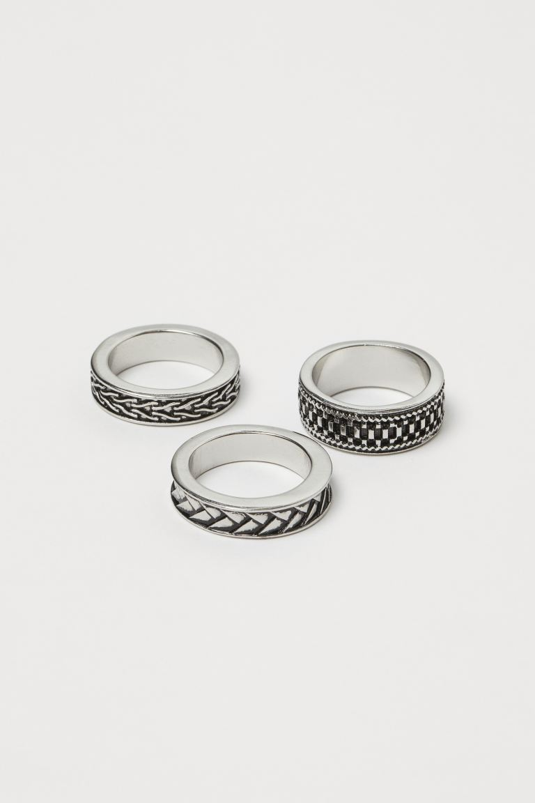 3-pack Rings - Silver-colored - Men | H&M US