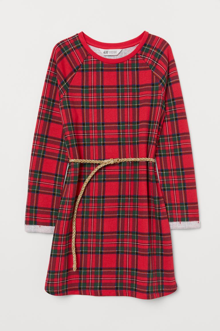Sweatshirt dress with a belt - Red/Checked - Kids | H&M IE