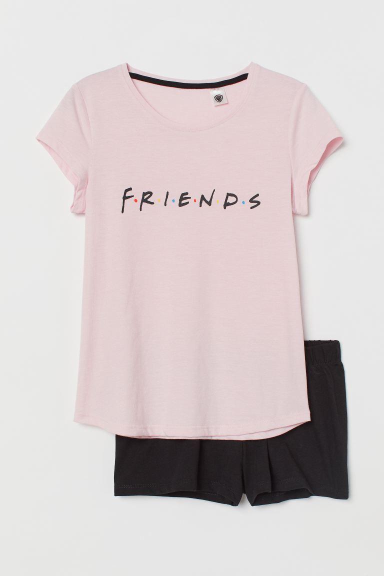 Jersey pyjamas - Light pink/Friends - Kids   H&M GB