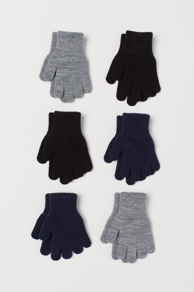 6-pack gloves - Dark blue/Grey marl/Black -  | H&M GB