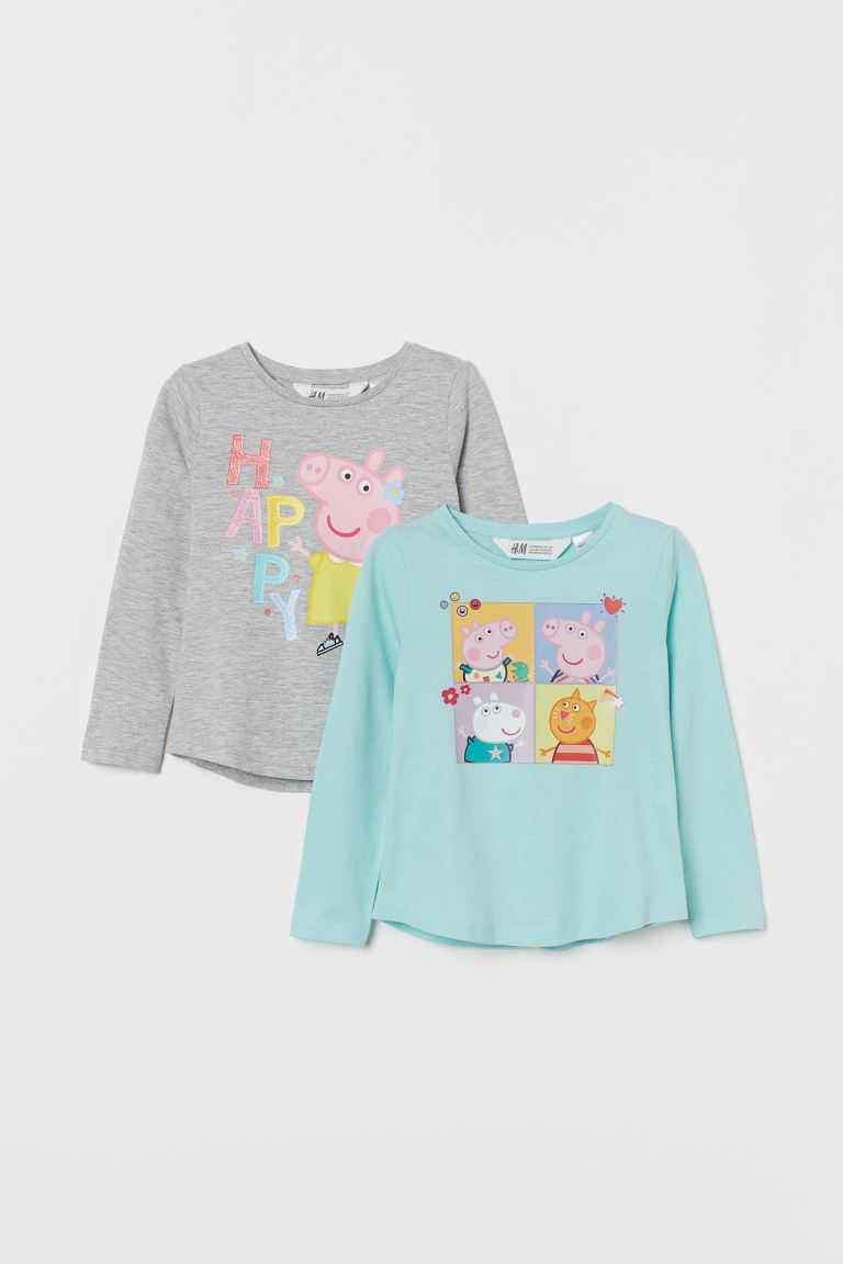 2-pack printed tops - Light grey marl/Peppa Pig - Kids | H&M GB