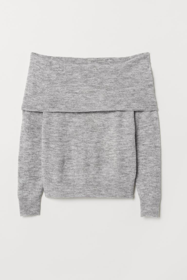 Gebreide off-the-shouldertrui - Grijs gemêleerd - DAMES | H&M BE