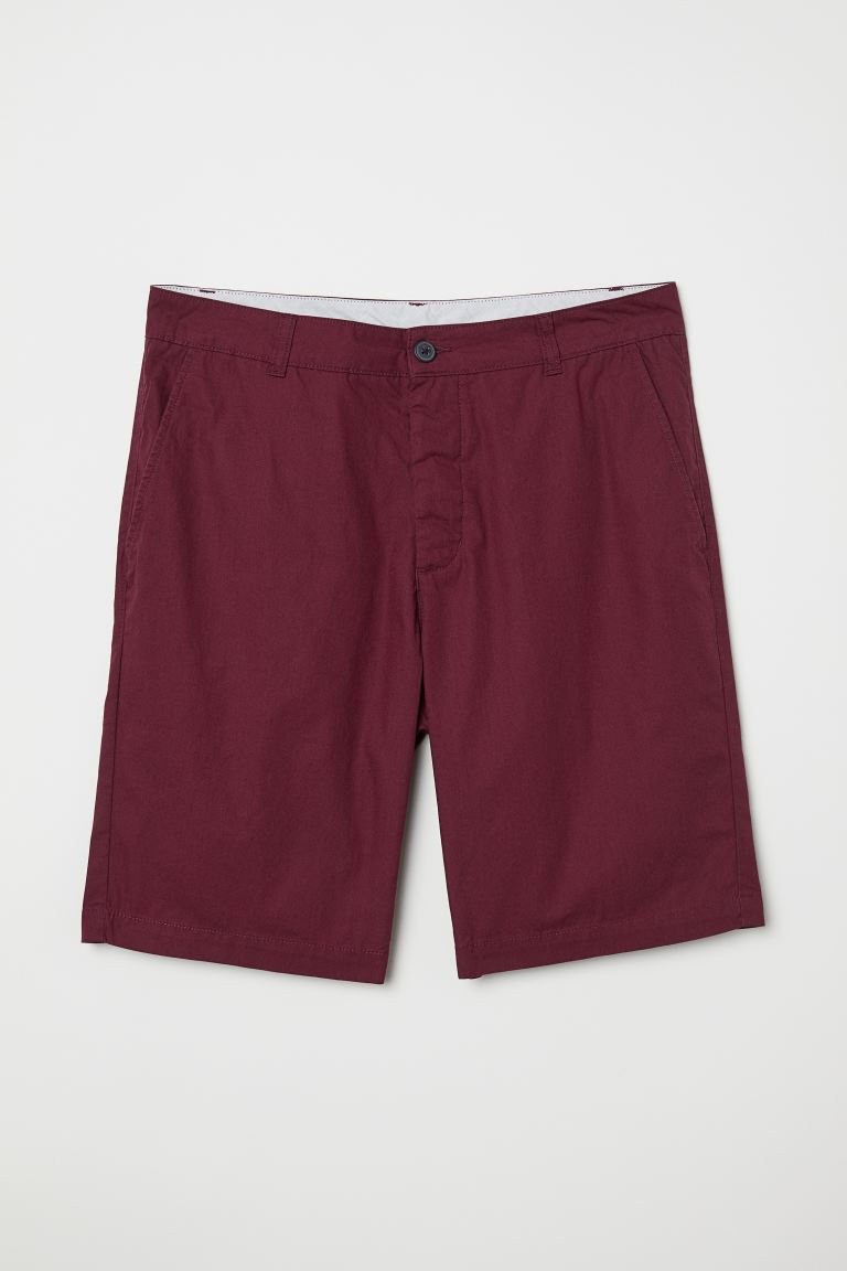 Knee-length Cotton Shorts - Dark red - Men | H&M US