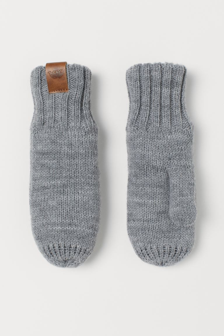Knitted mittens - Grey marl -    H&M GB