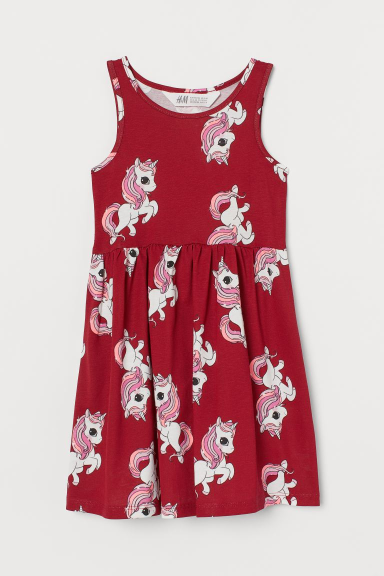Patterned jersey dress - Red/Unicorns - Kids | H&M