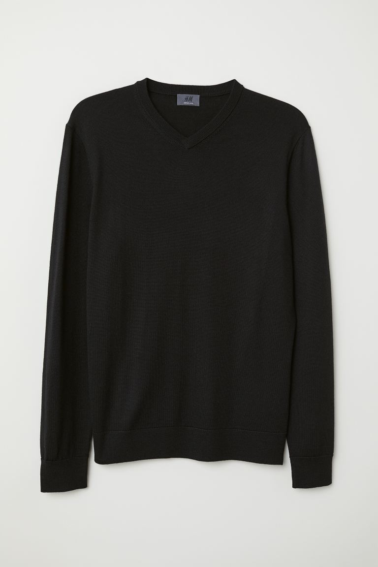 V-neck merino wool jumper - Black - Men | H&M
