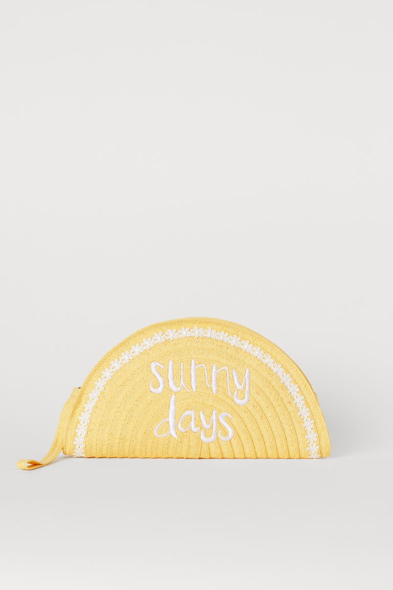 Paper Straw Clutch Bag - Yellow/Sunny Days - Ladies | H&M CA