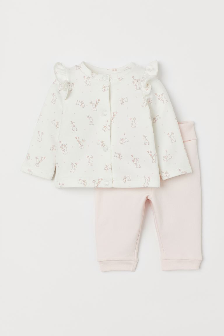 2-piece cotton set - White/Rabbits - Kids | H&M IN