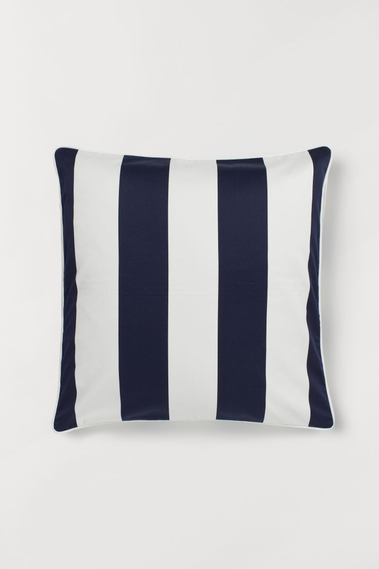 Cotton Satin Cushion Cover - Dark blue/white striped - Home All | H&M US