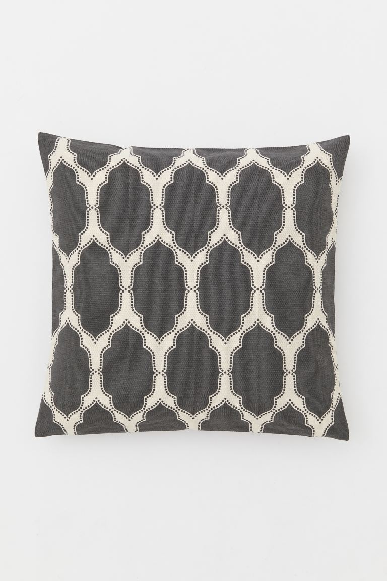 Patterned cotton cushion cover - Dark grey/White patterned - Home All | H&M IE