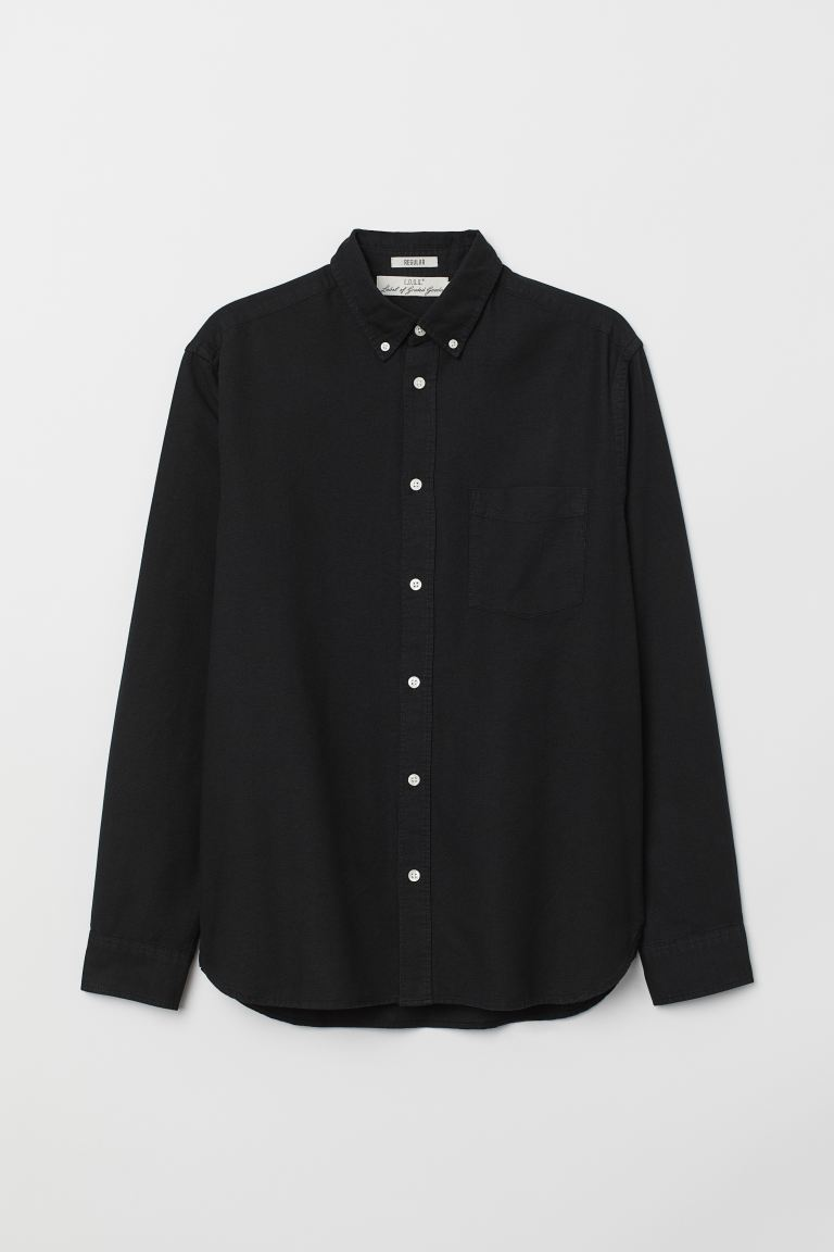 Regular Fit Oxford Shirt - Black - Men | H&M US
