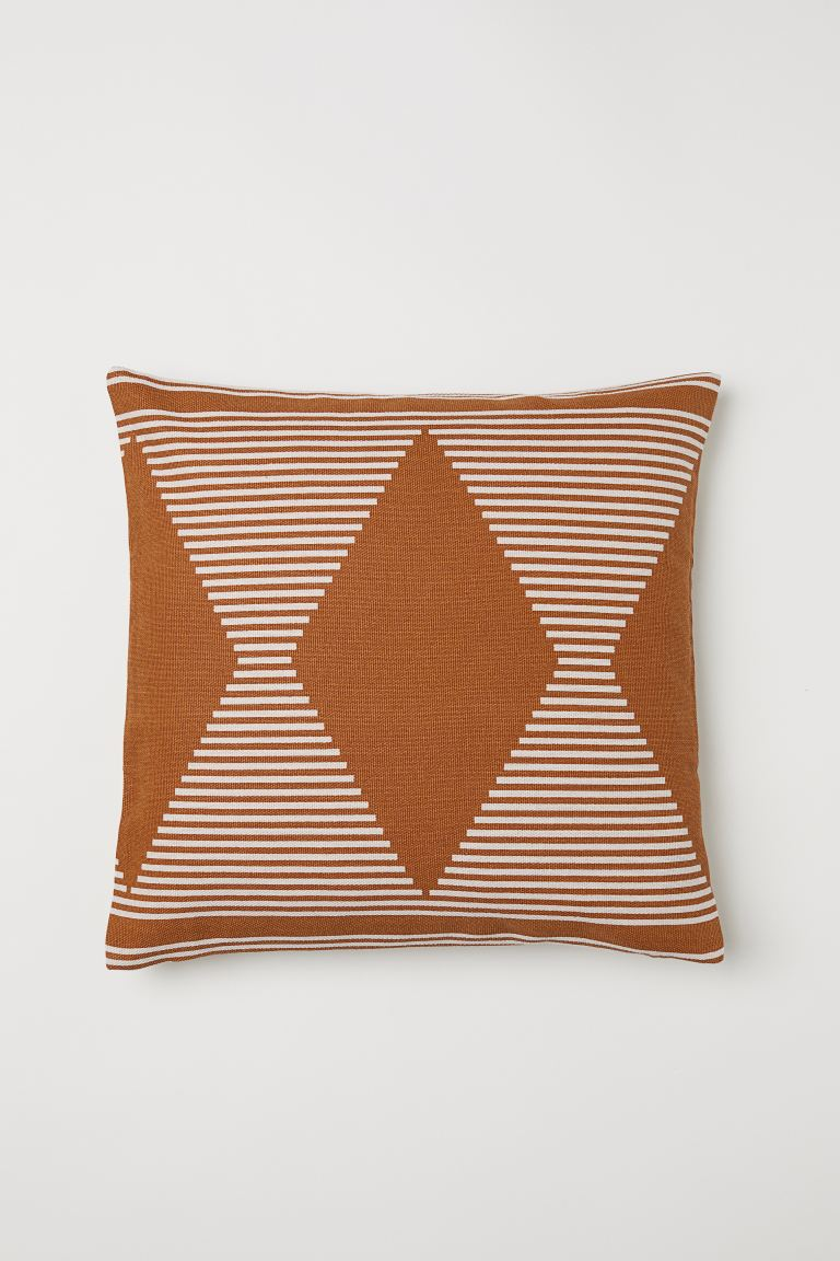 Patterned Cotton Cushion Cover - Brown/patterned - Home All | H&M US