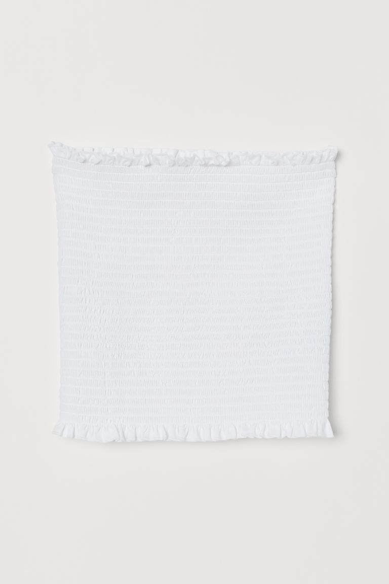 Smocked tube top - White - Ladies | H&M GB