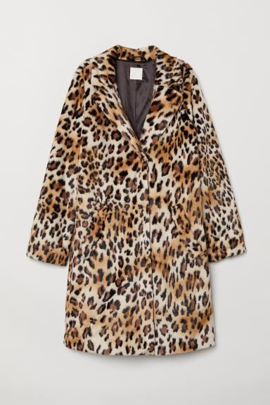 Faux Fur Coat - Beige/leopard print - Ladies | H&M CA