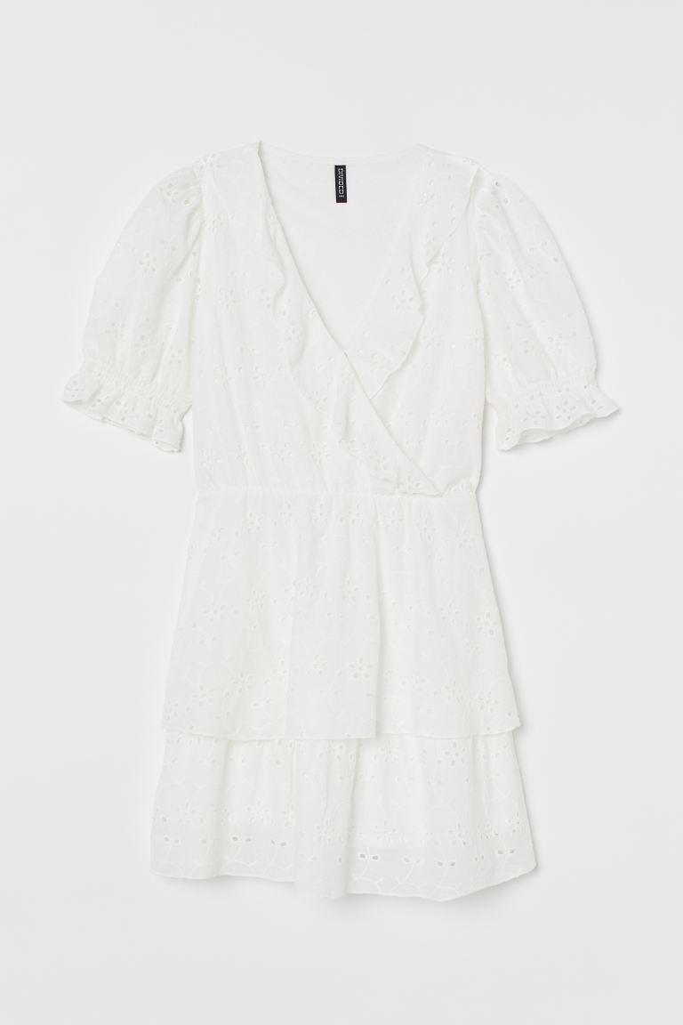 Kleid mit Broderie Anglaise - Weiß - Ladies | H&M AT 4
