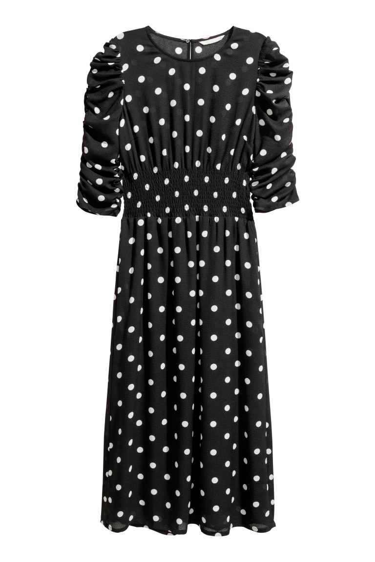 Dress with smocking - Black/White spotted - Ladies | H&M GB