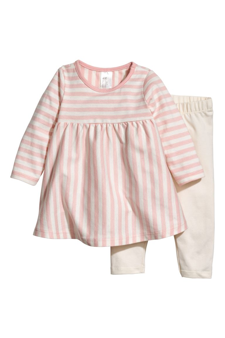 Jersey Dress and Leggings - White/pink striped - Kids | H&M CA
