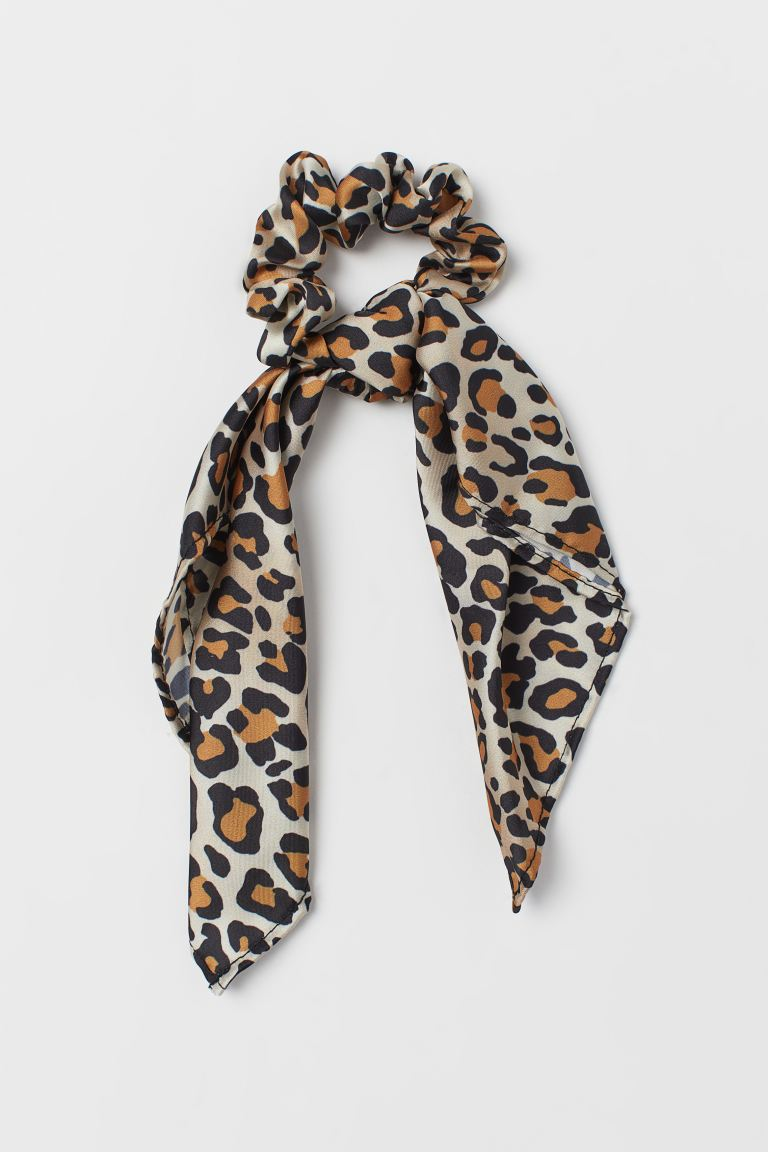 Scarf-detail Scrunchie - Light beige/leopard print - Ladies | H&M CA