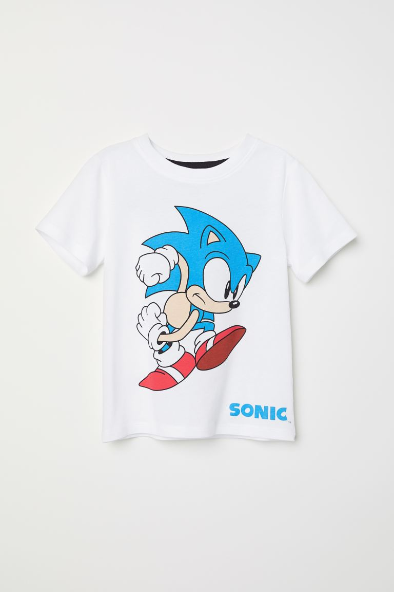 T Shirt With Printed Design White Sonic Kids H M Us