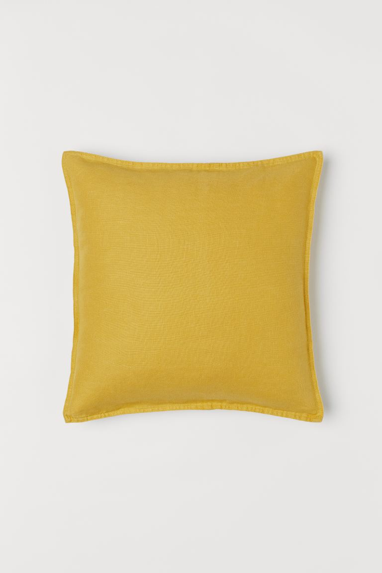 Washed Linen Cushion Cover - Mustard yellow - Home All | H&M US