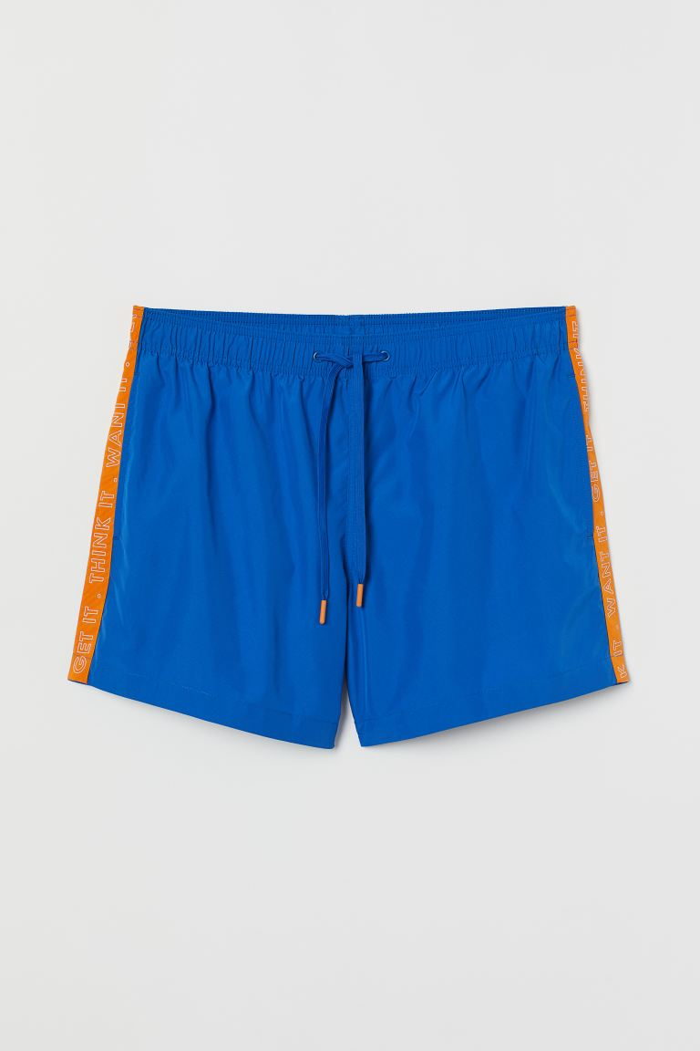 Shorts de baño estampados - Azul/Franjas laterales - Men | H&M US
