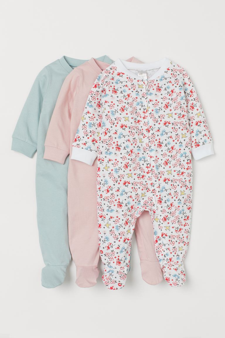 3-pack zip-up pyjamas - Light pink/Floral - Kids | H&M GB