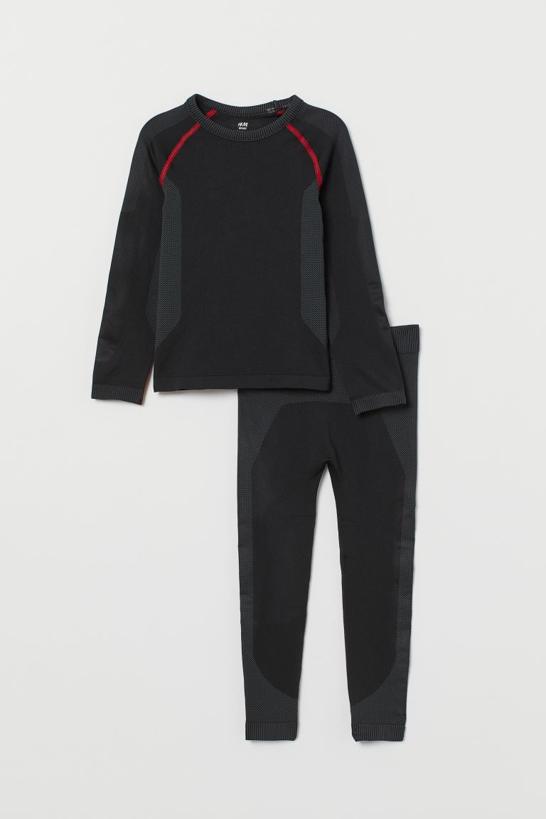 Seamless base layer set - Black - Kids | H&M IN