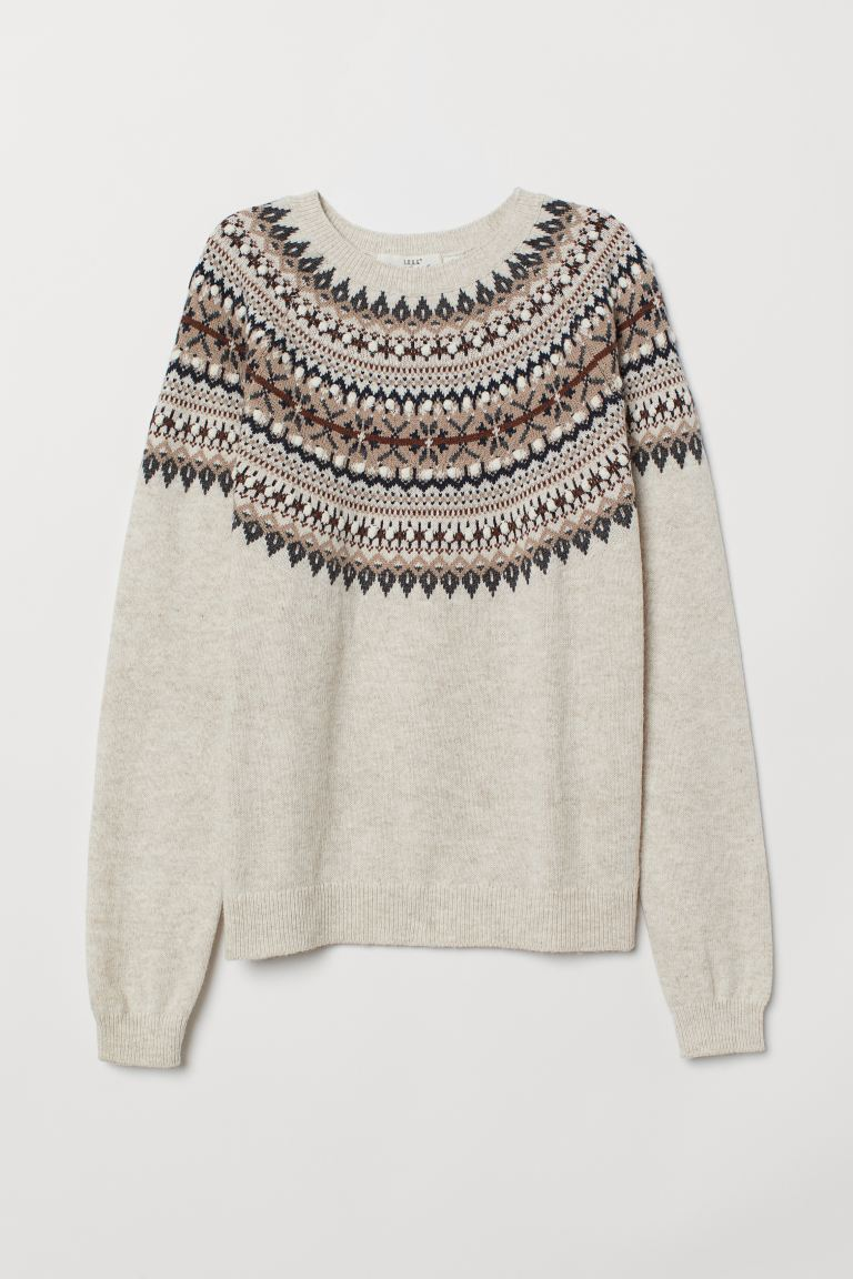 Jacquard-knit Sweater - Beige/patterned - Ladies | H&M CA