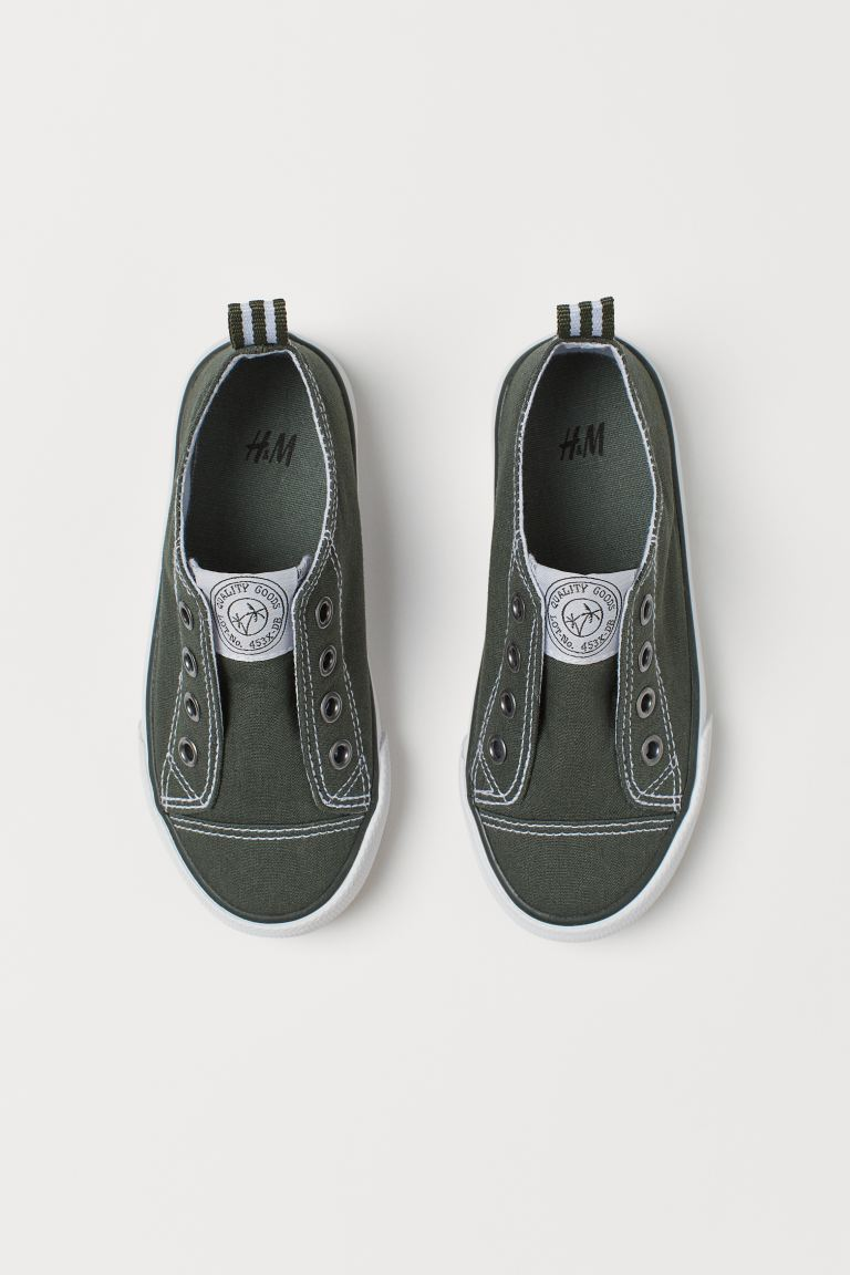 Slip-on Sneakers - Dark khaki green - Kids | H&M US