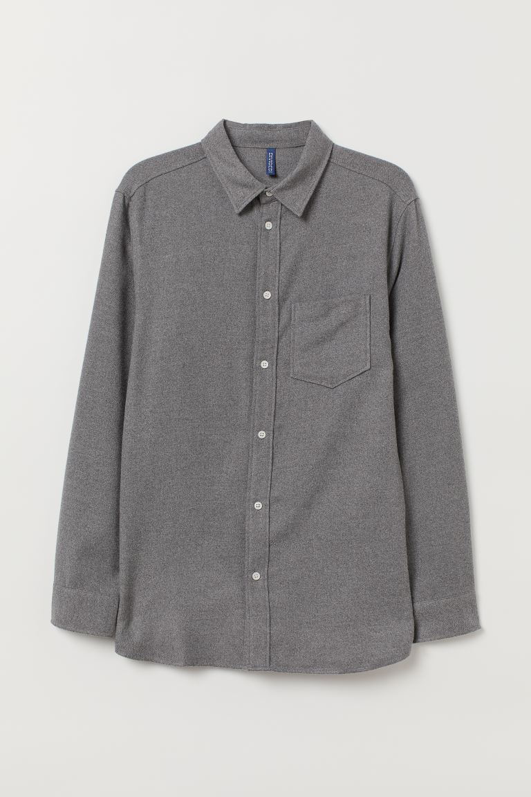 Flannel Shirt - Dark gray - Men | H&M US