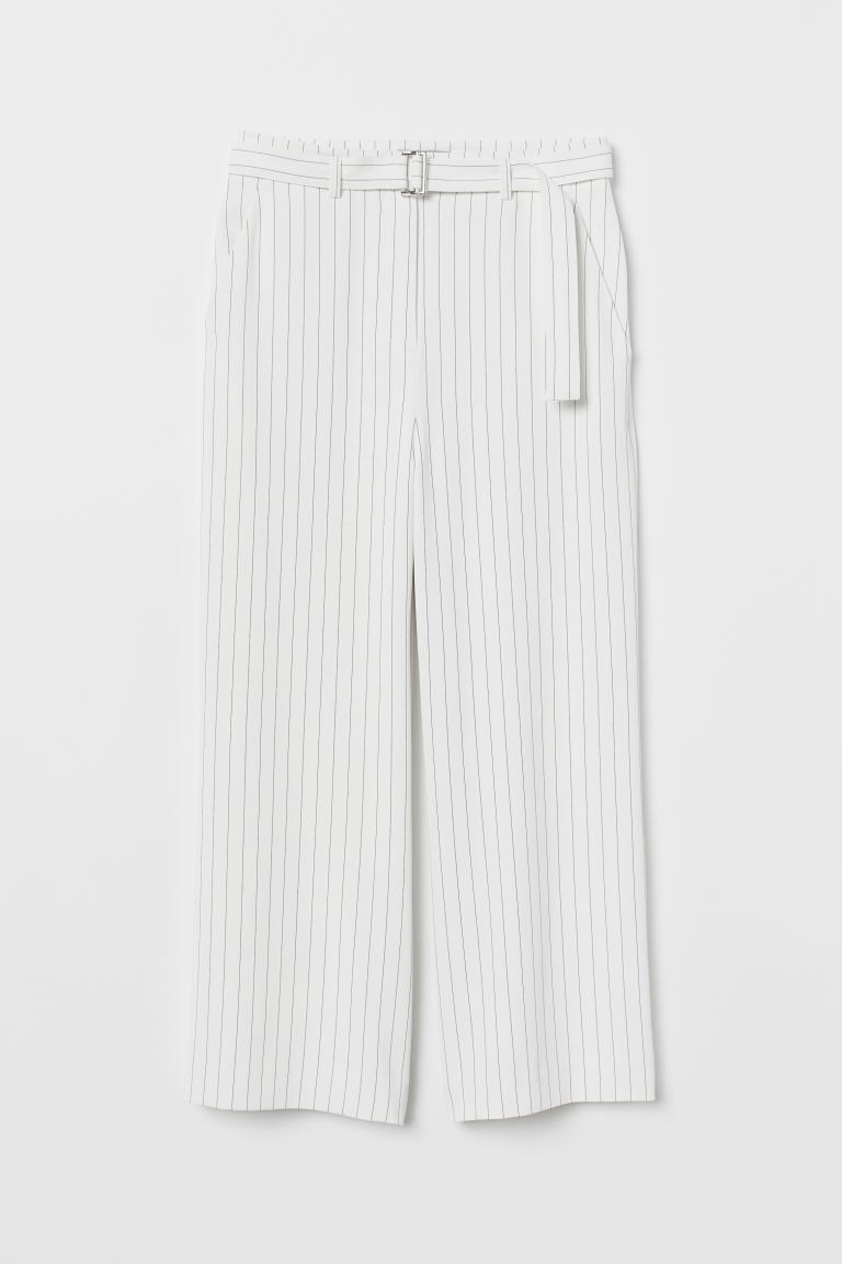 Wide trousers with a belt - White/Black striped - Ladies | H&M