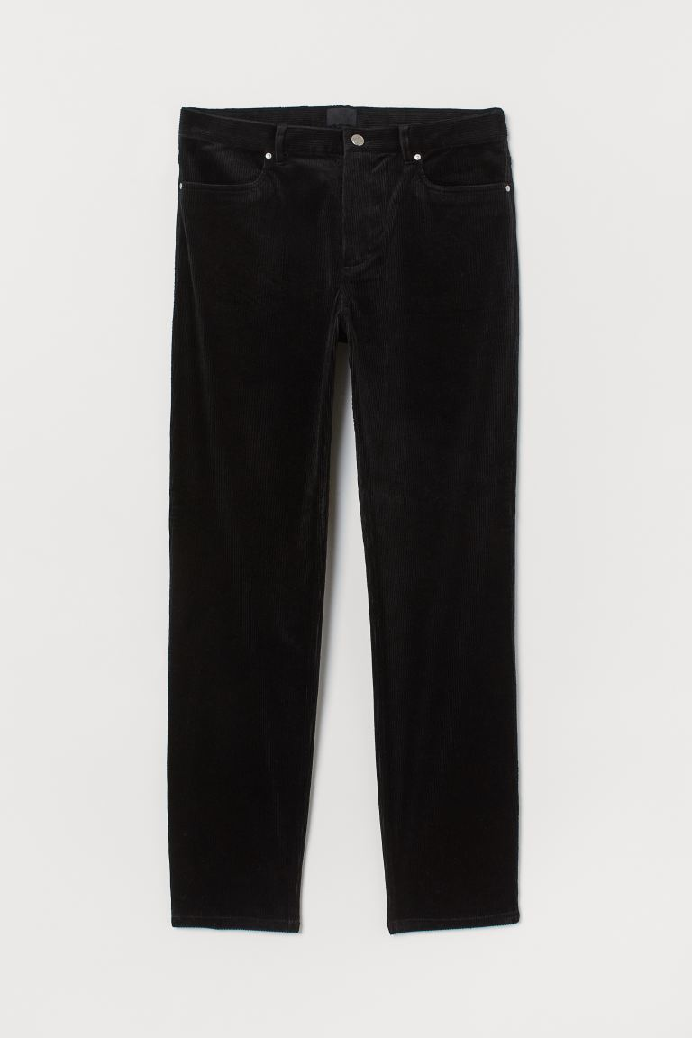Corduroy trousers Slim Fit - Black - Men | H&M IN