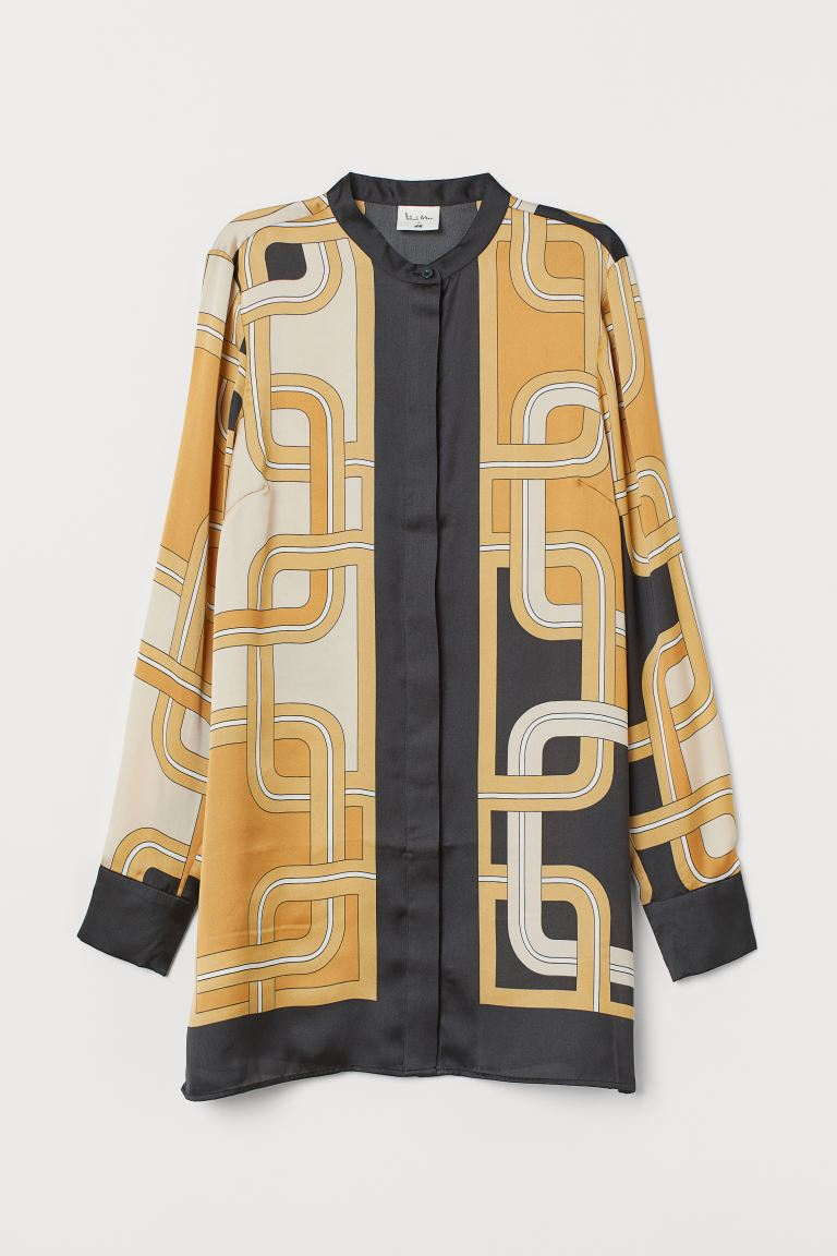 Patterned Satin Blouse - Beige/patterned - Ladies | H&M US