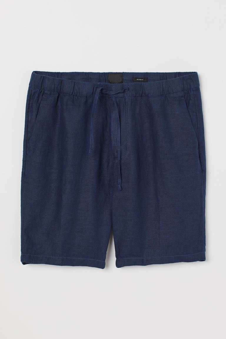 Shorts Relaxed fit en lino - Azul oscuro - Men | H&M US