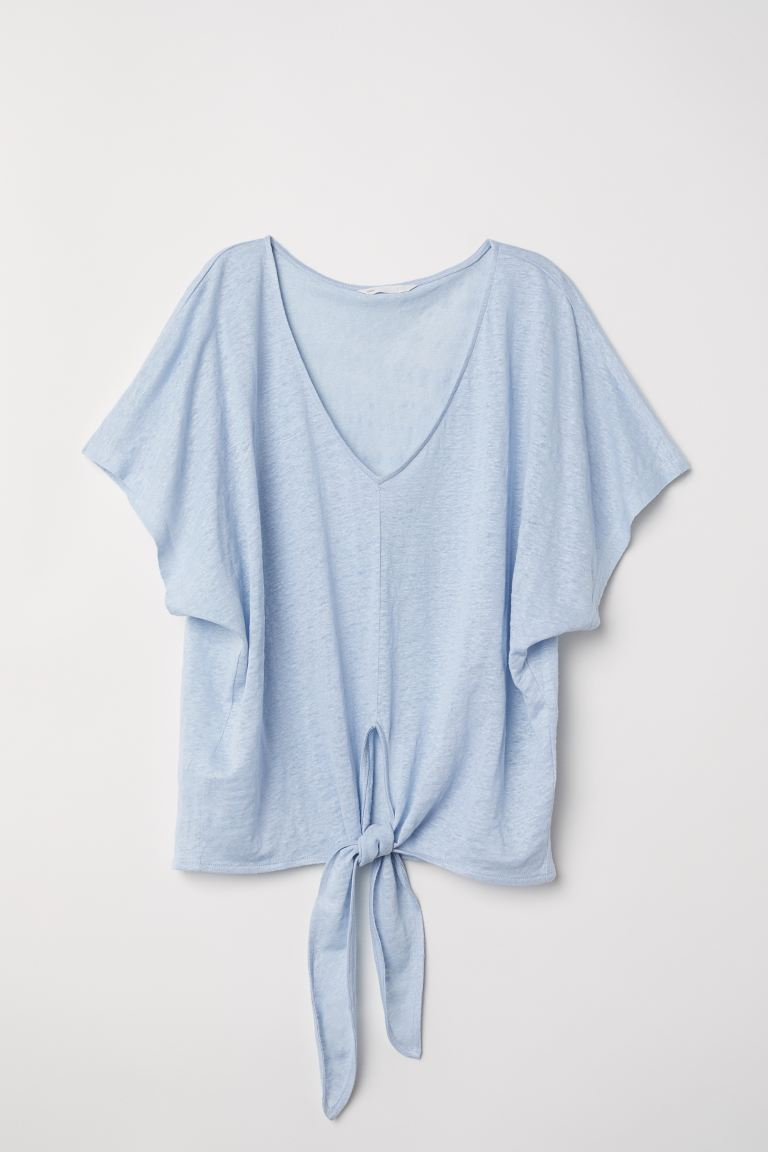 Knot-detail linen top - Light blue - Ladies | H&M GB