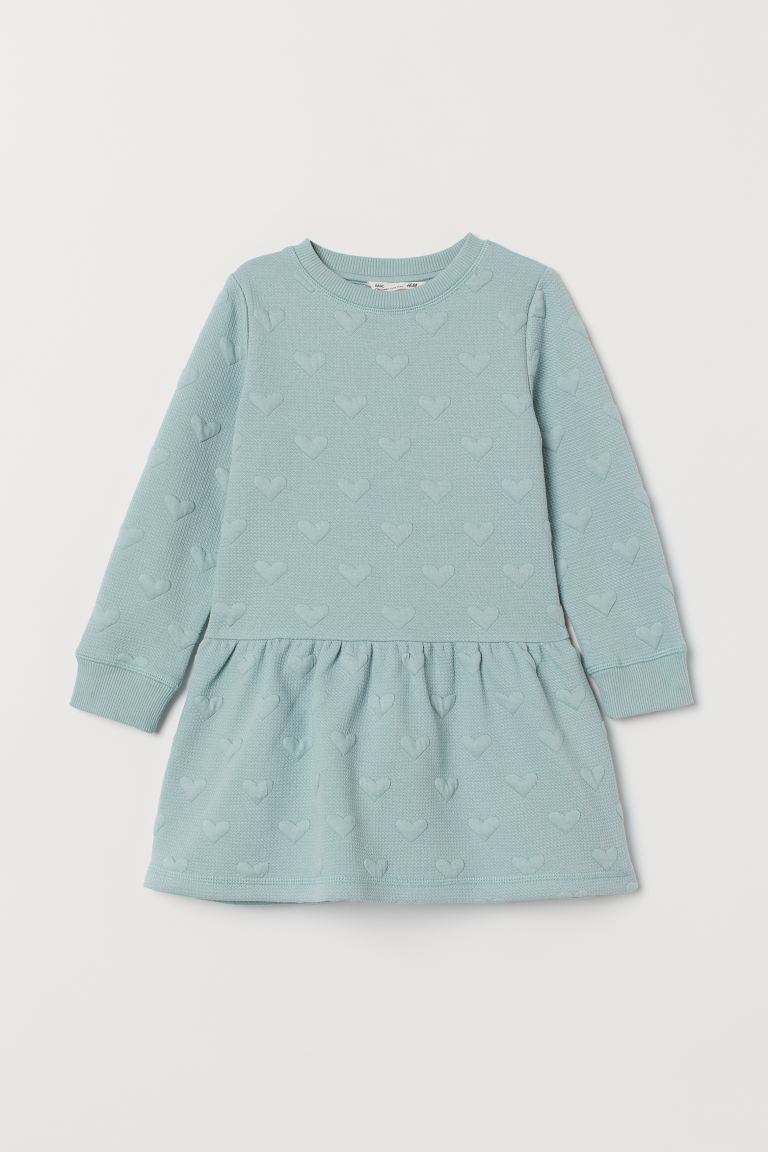 Textured Dress Dusky Green Hearts