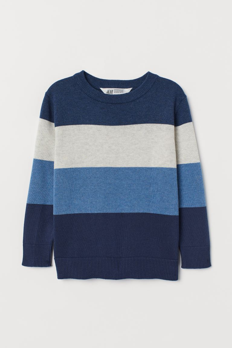 Fine-knit jumper - Dark blue/Block-coloured - Kids | H&M IE