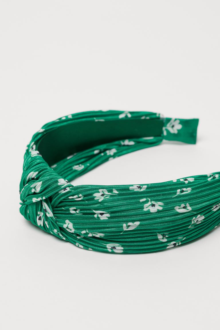 Alice band with a knot detail - Green/White floral - Ladies | H&M GB