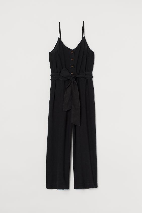 Linen-blend jumpsuit - Black - Ladies | H&M GB 4