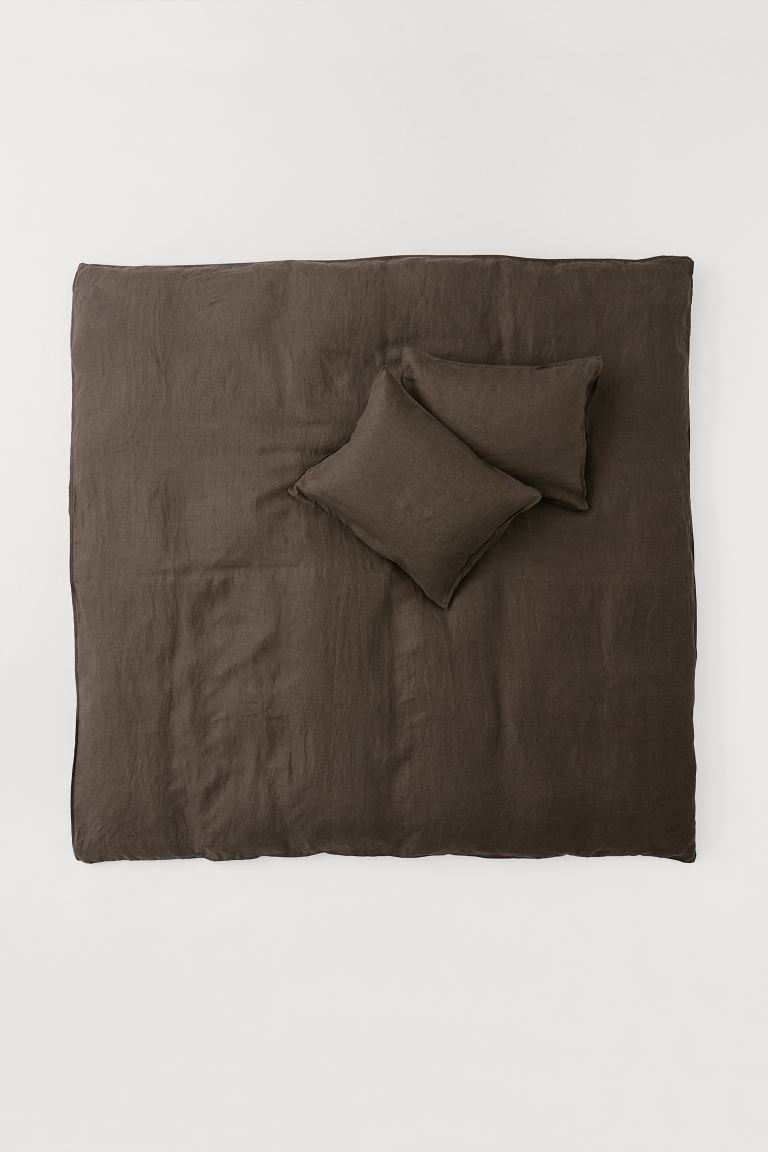 Washed linen duvet cover set - Dark mole - Home All | H&M GB